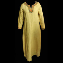 Load image into Gallery viewer, Yellow Linen Viking Women's Dress with Wool Embroidery - Womens Viking Clothing
