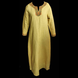 Yellow Linen Viking Women's Dress with Wool Embroidery - Womens Viking Clothing
