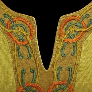 Yellow Linen Viking Women's Dress with Wool Embroidery - Neckline