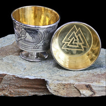 Load image into Gallery viewer, Solid Silver Handmade Jelling Cup Replica with Gold Plated Interior Valknut Design