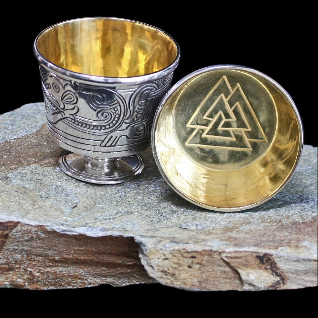 Jelling Cups with Odin Valknut Design - Viking Asatru Supplies