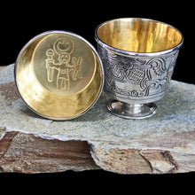 Load image into Gallery viewer, Solid Silver Handmade Jelling Cup Replica with Gold Plated Interior Odin Warrior Design