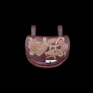 Custom Made Turned Leather Belt Pouch - Brown / Jelling Dragon - Viking Pouches & Bags