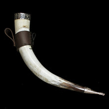 Load image into Gallery viewer, Large Custom Viking Drinking Horn with Runic Rim & Leather Belt Hanger - Viking Feasting Supplies