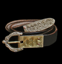 Load image into Gallery viewer, Decorated Buckle Plate on Viking Belt with Liverpool Buckle & Viking Strap End