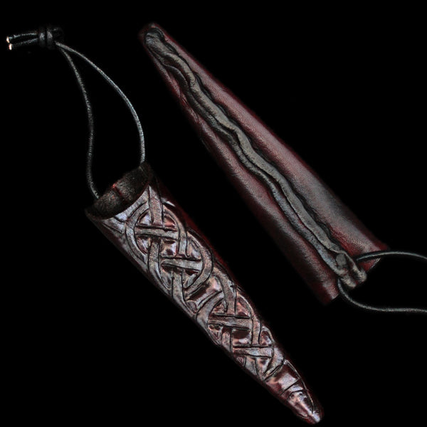 Handmade Leather Snips Sheath with Knotwork Design - Viking Crafts