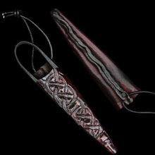 Load image into Gallery viewer, Hand-Forged Small Snips - With Handmade Leather Knotwork Sheath - Viking Leather Crafts
