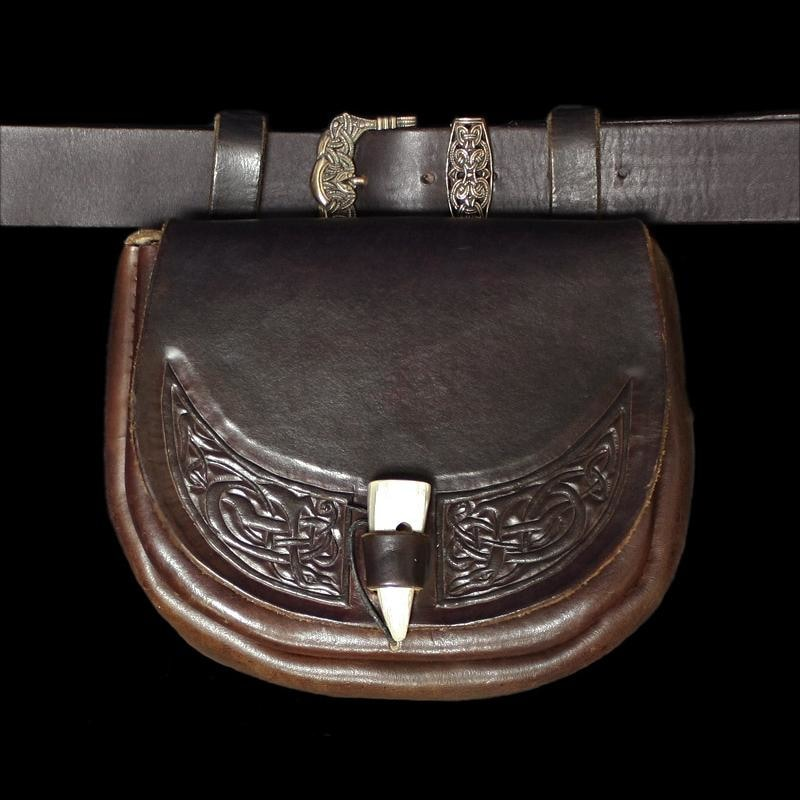 Viking Dragon Large Leather Belt Pouch - Viking Pouches & Bags