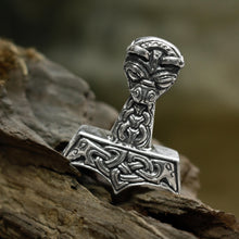 Load image into Gallery viewer, Large and Ferocious Thor's Hammer in 925 Sterling Silver - Thor's Hammer Pendants - Viking Jewelry