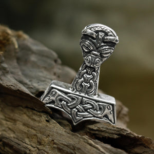 Large and Ferocious Thor's Hammer in 925 Sterling Silver - Thor's Hammer Pendants - Viking Jewelry