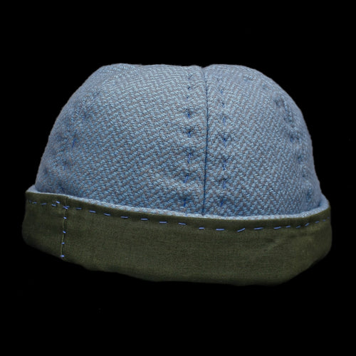 6 Panel Wool Viking Hat from Birka - Blue and Green