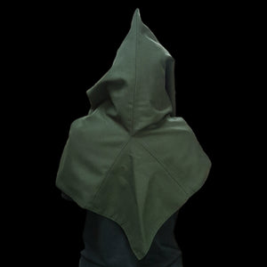 Green Wool Viking Hood From Skjoldehamn Back - Viking Hats & Hoods