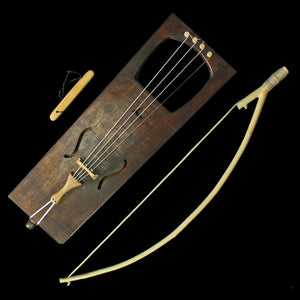 Handmade Viking Tagelharpa with Bow & Tuning Fork - Dark Brown