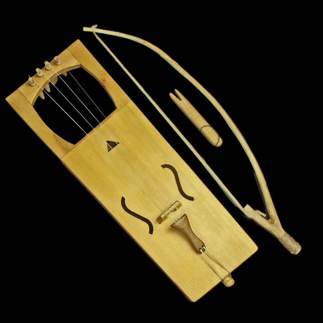 Handmade Viking Tagelharpa with Bow & Tuning Fork - Natural