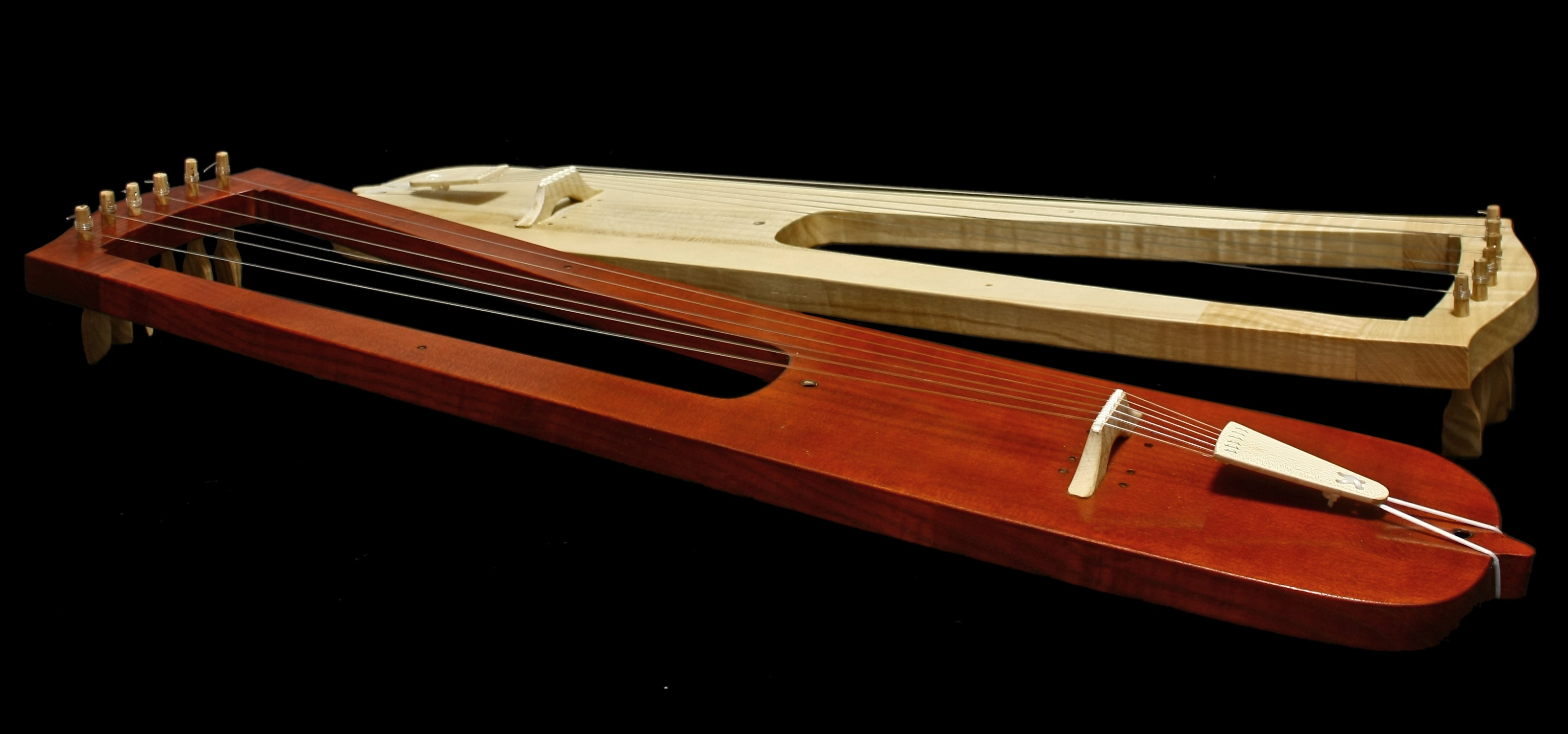 Handmade Trossingen Lyres in Natural & Mahogany Colour - Side View - Viking Instruments