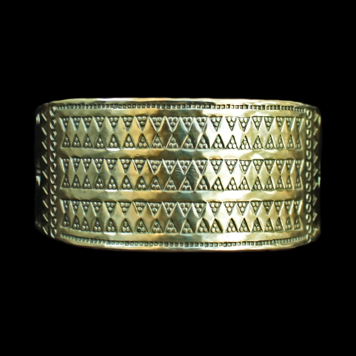 Viking Cuff Bracelet in Solid Brass with Embossed Viking Design