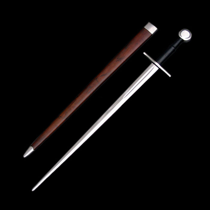 Medieval Bastard Sword with Disc Pommel & Scabbard