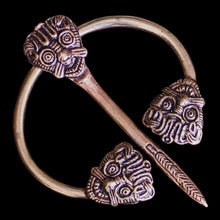 Load image into Gallery viewer, Bronze Danish Penannular Brooch with Viking Heads - Viking Jewelry