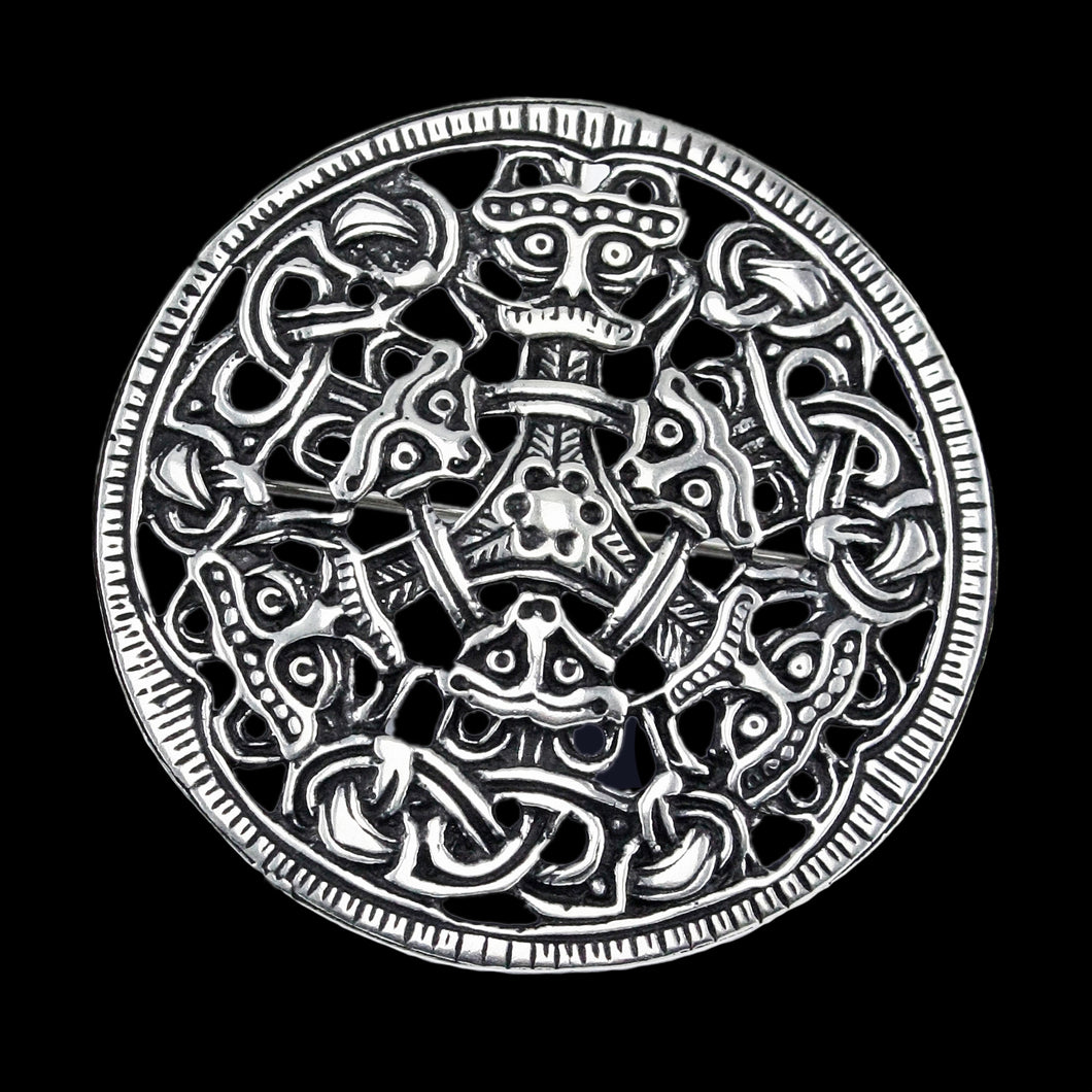 Large Round Silver Viking Brooch from Oppland, Norway - Viking Brooches