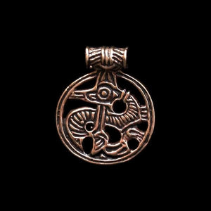 Round Bronze Viking Dragon Pendant - Viking Pendants
