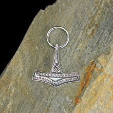 Load image into Gallery viewer, Silver Rømersdal Replica Thors Hammer Pendant on Rock