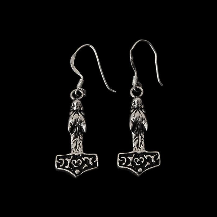 Silver Wolf Hammer Earrings - Viking Earrings