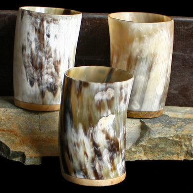Horn Mead Cups with Wooden Base - Viking Feasting Supplies