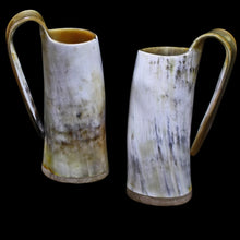 Load image into Gallery viewer, Large Polished Ox Horn Beer Mugs - Viking Feasting Supplies
