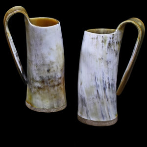 Large Polished Ox Horn Beer Mugs - Viking Feasting Supplies