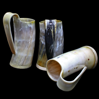 Medium Polished Ox Horn Beer Mugs - Viking Feasting Supplies