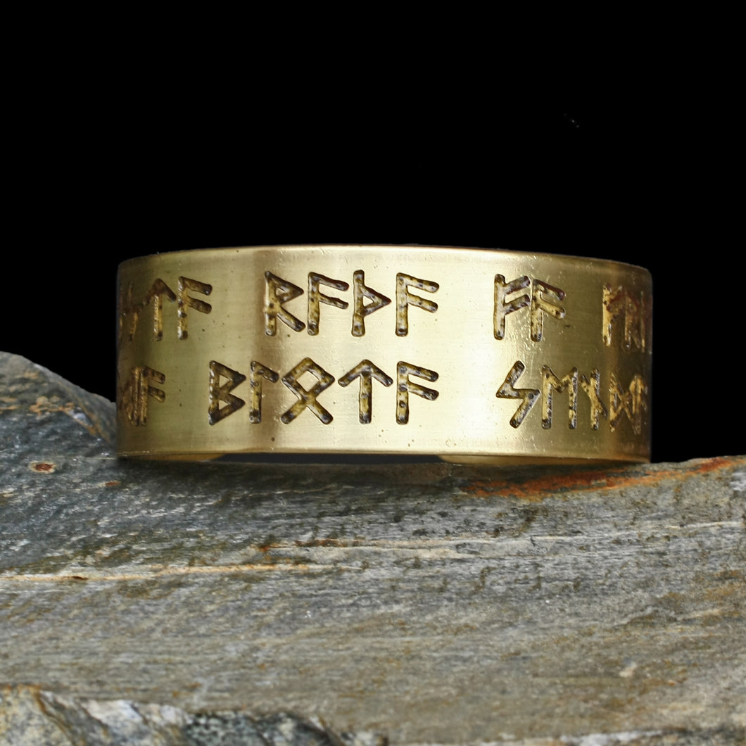 Runic Viking Havamal Bracelet in Brass - Viking Jewelry
