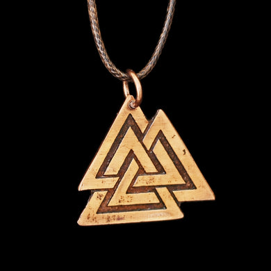 Large Copper Odin Valknut Pendant - Runic Viking Jewelry