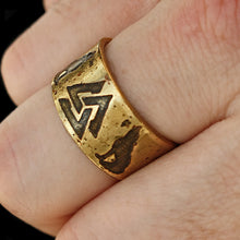Load image into Gallery viewer, Odin's Wolves Valknut Brass Ring On - Viking Jewelry