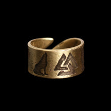 Load image into Gallery viewer, Odin's Wolves Valknut Brass Ring - Viking Jewelry