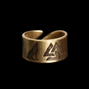 Odin's Wolves Valknut Brass Ring - Viking Jewelry