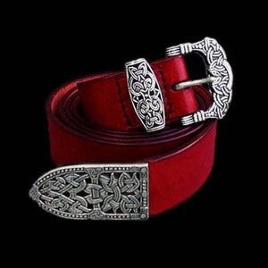 High Status Viking Belt With Gokstad Silver Fittings - Red Strap - Belts & Fittings