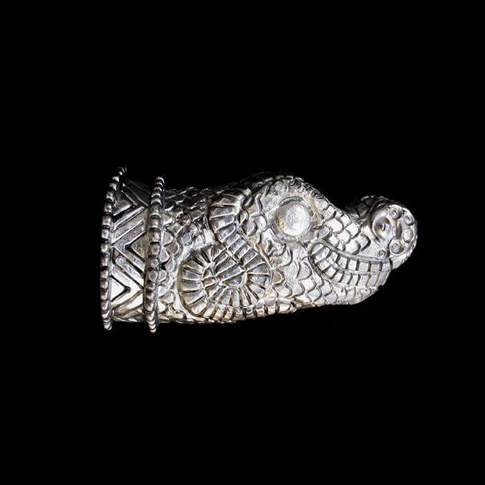 Dragons Head Pewter Horn Finial - Viking Drinking Horns