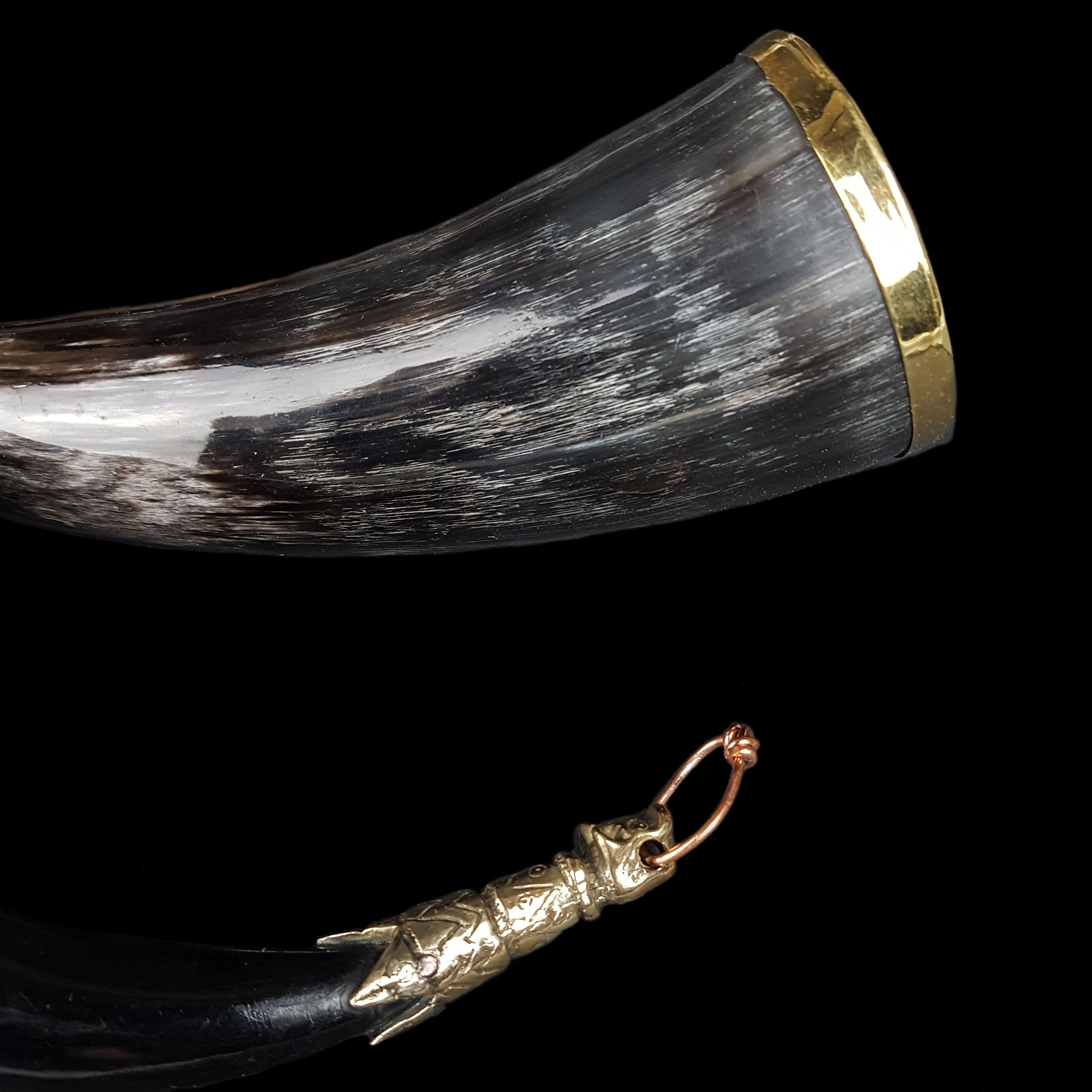 Small Decorated Viking Drinking Horn with Bronze Fittings