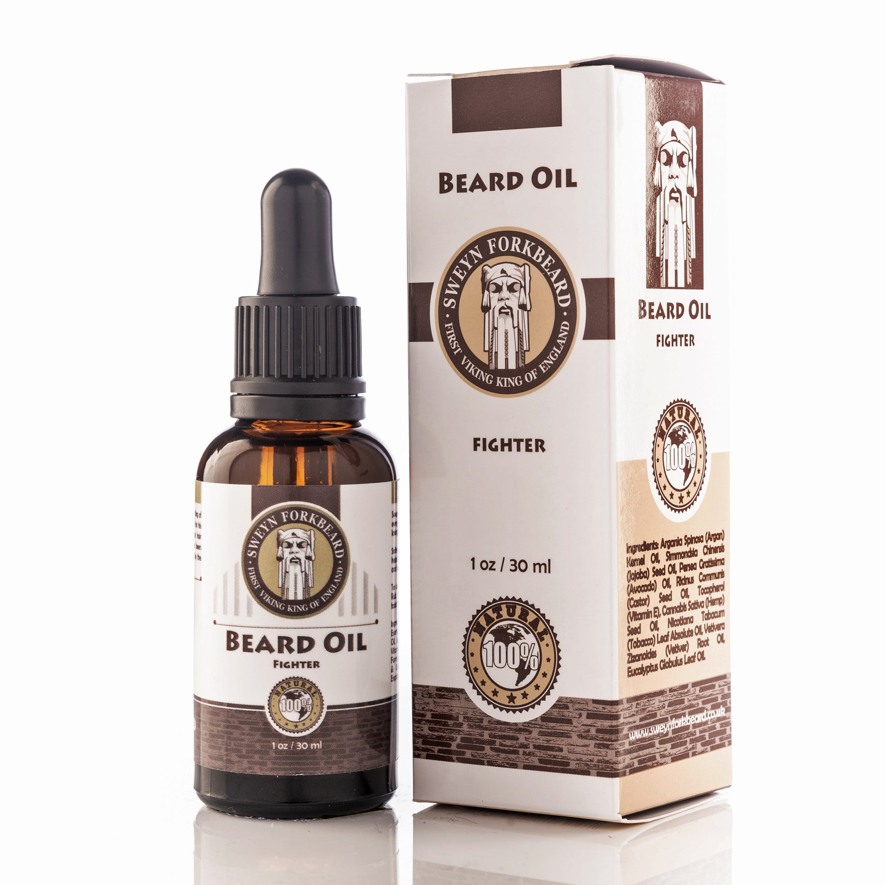 Beard Oil Fighter in Glass Bottle with Pipette - Modern Viking Grooming Accessories