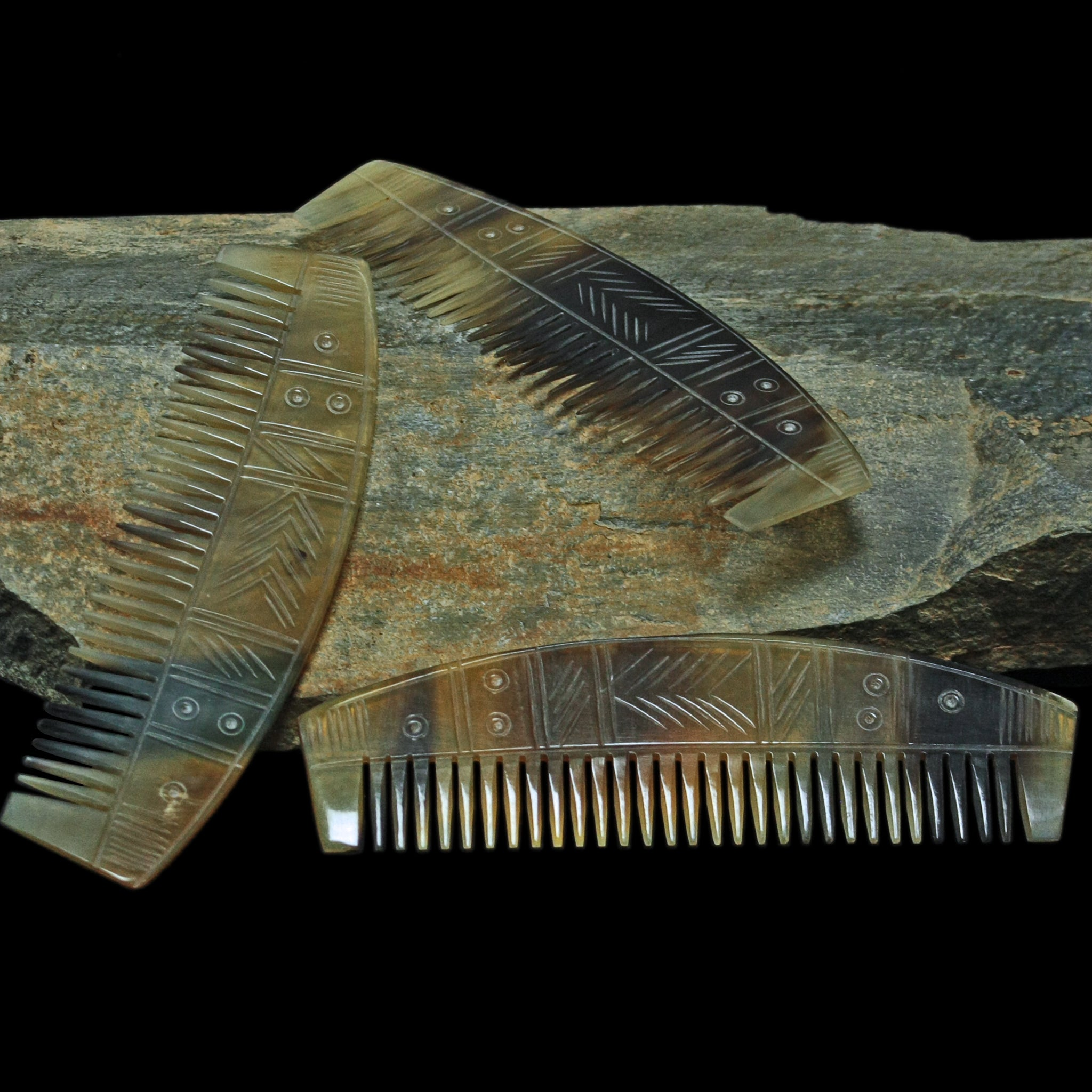 Decorated Horn Viking Comb