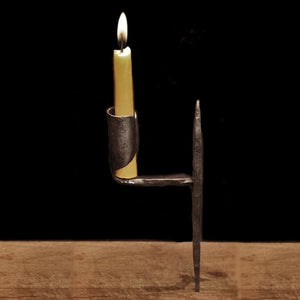 Medieval Iron Candle Holder With Upper Spike - Viking & Medieval Lighting