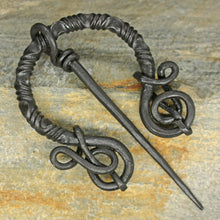 Load image into Gallery viewer, Decorated Iron Cloak Pin from Birka on Rock