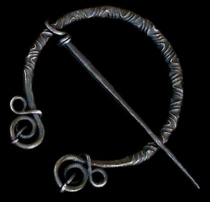 Large Decorated Iron Cloak Pin From Birka - Cloak Pins