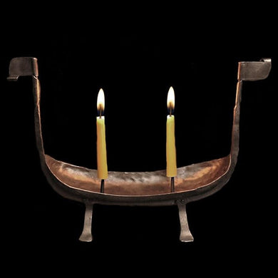Viking Longship Candle Holder With Candles - Viking & Medieval Lighting