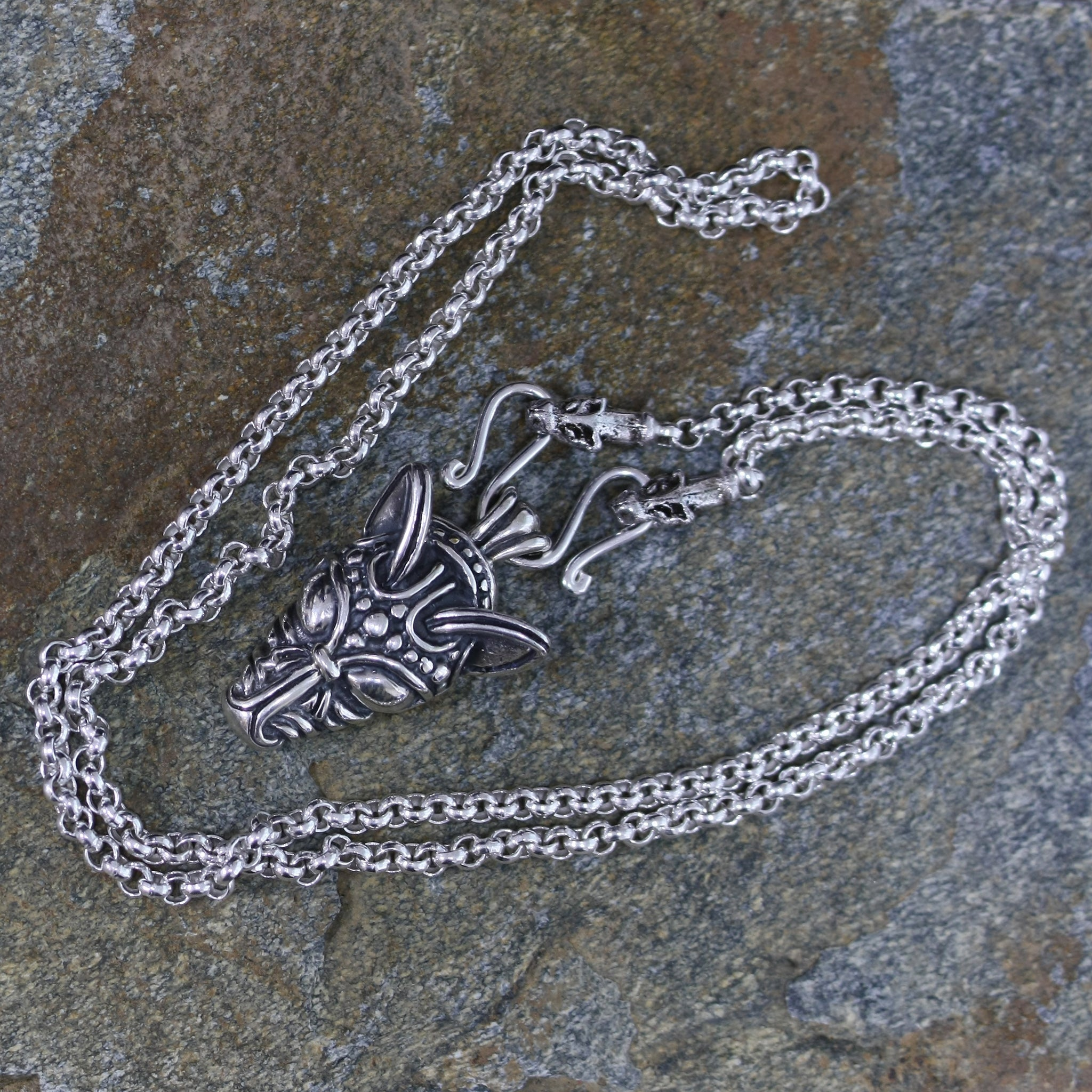 Sterling Silver Anchor Chain Viking Necklace with Icelandic Wolf Heads on Rock - Viking Jewelry