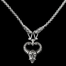 Load image into Gallery viewer, Slim Silver Anchor Chain Pendant Necklace with Gotland Dragon Heads with Odin Mask Pendant