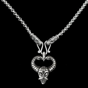 Slim Silver Anchor Chain Pendant Necklace with Gotland Dragon Heads with Odin Mask Pendant