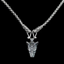 Load image into Gallery viewer, Slim Silver Anchor Chain Pendant Necklace with Gotland Dragon Heads with Wolf Pendant