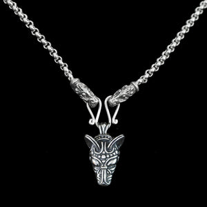 Slim Silver Anchor Chain Pendant Necklace with Gotland Dragon Heads with Wolf Pendant