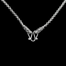 Load image into Gallery viewer, Slim Silver Anchor Chain Pendant Necklace with Gotland Dragon Heads